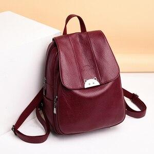 Image 2 - Mochila Feminina  Back Pack Soft Leather Women Backpack High Quality Bagpack School Bags for Teenage Girls 2019 Sac A Dos Femme