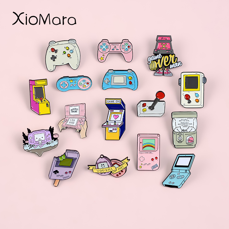 Retro Arcade Game Enamel Pins Collections Cartoon 90s Gamepad Jewelry Brooches Denim Shirt Collar Badge Lapel Pins Friends Gifts