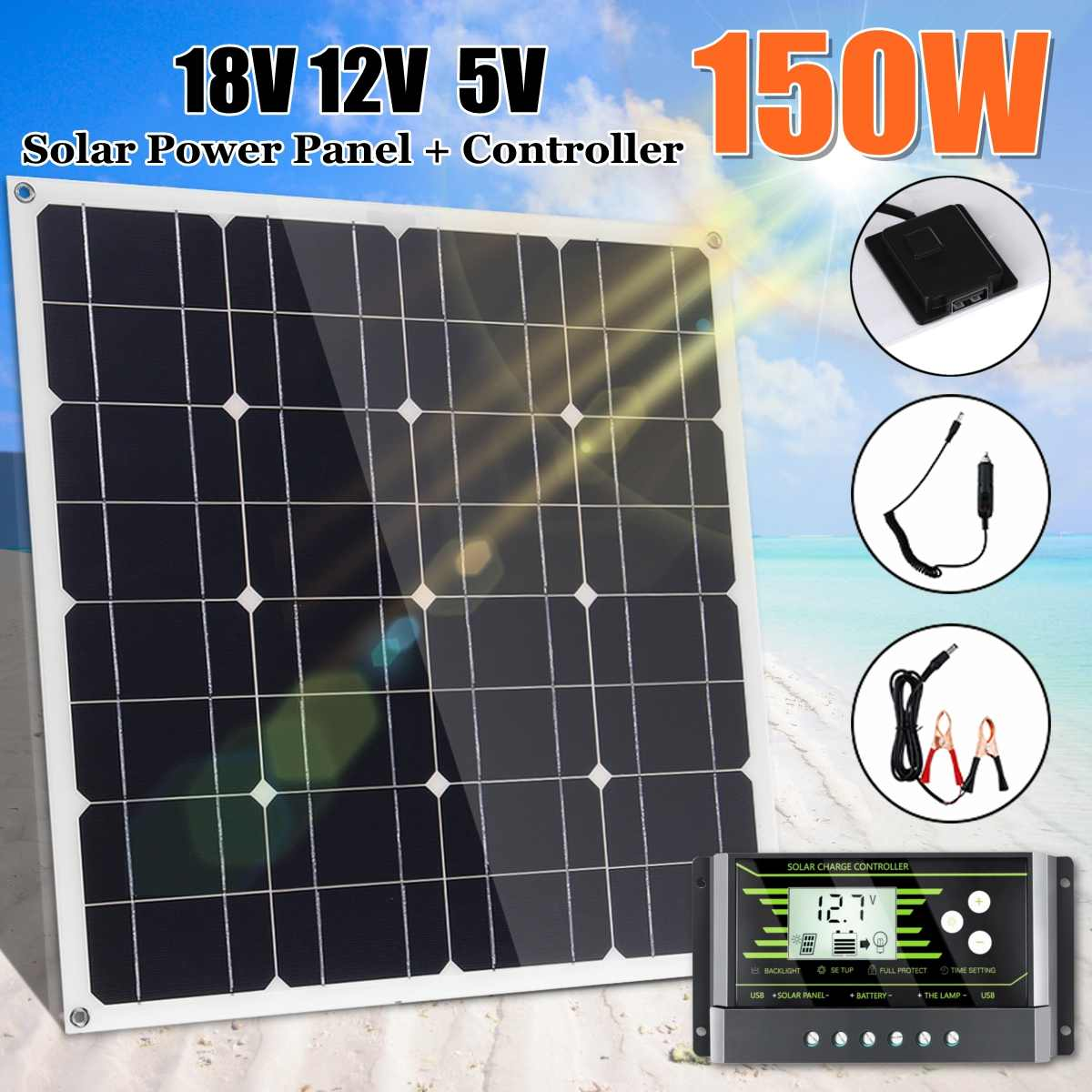 150W 18V Mono Solar Panel USB 12V/5V DC With 10/20/30A Controller Flexible Solar Charger For Car RV Boat Battery Waterproof