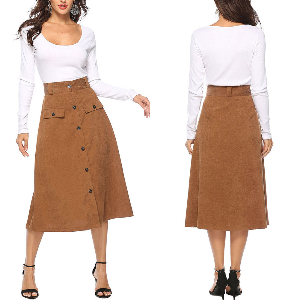 Women Midi Long Skirt Elegant Elastic Waist Autumn Winter A-line Skirts XRQ88