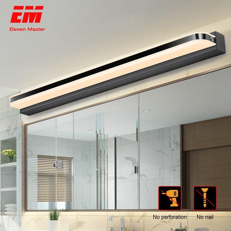 Espelho de luz led 40/50cm 9 w/12 w AC220-240V à prova dwaterproof água moderna cosméticos acrílico lâmpada parede para banheiro luz arandela lâmpada zjq0004