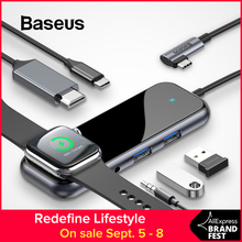 Baseus USB C HUB to 3.0 HDMI RJ45 Adapter for MacBook Pro Air Multi Type with Wireless Charge iWatch USB-C