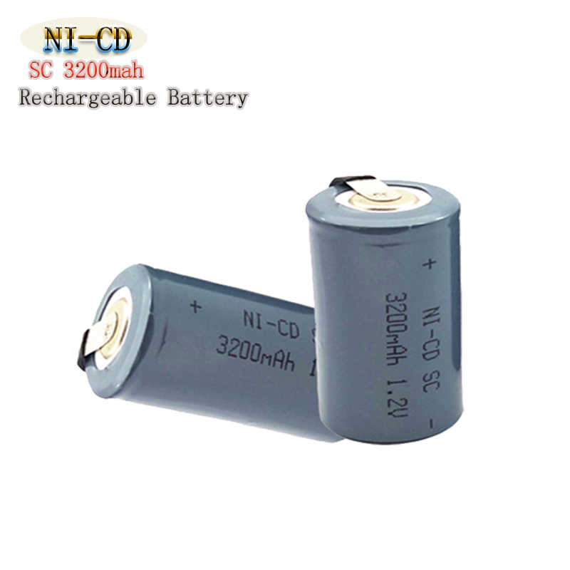 10 шт./лот Ni-CD SC 3200mAh серебро 1,2 V 4/5 Sub NiCd аккумулятор плоский верх с вкладками для электроинструментов