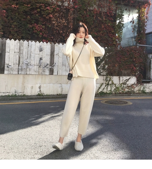 H14635e46a09c48cfa5694156dde6c3fab - Autumn / Winter Turtleneck Sweater and Straight Solid Pants