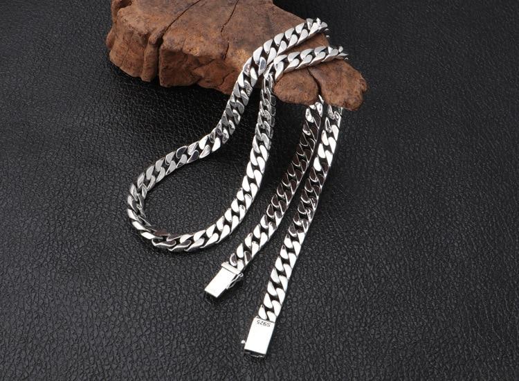 Réel S925 bijoux en argent sterling personnalité simple populaire Thai argent rétro 8mm épais modèles hommes et femmes necklac