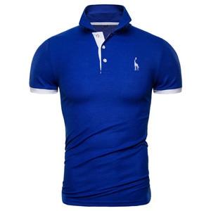 Image 4 - Dropshipping 13 cores marca qualidade polos algodão bordado polo girafa camisa masculina casual retalhos masculinos topos roupas