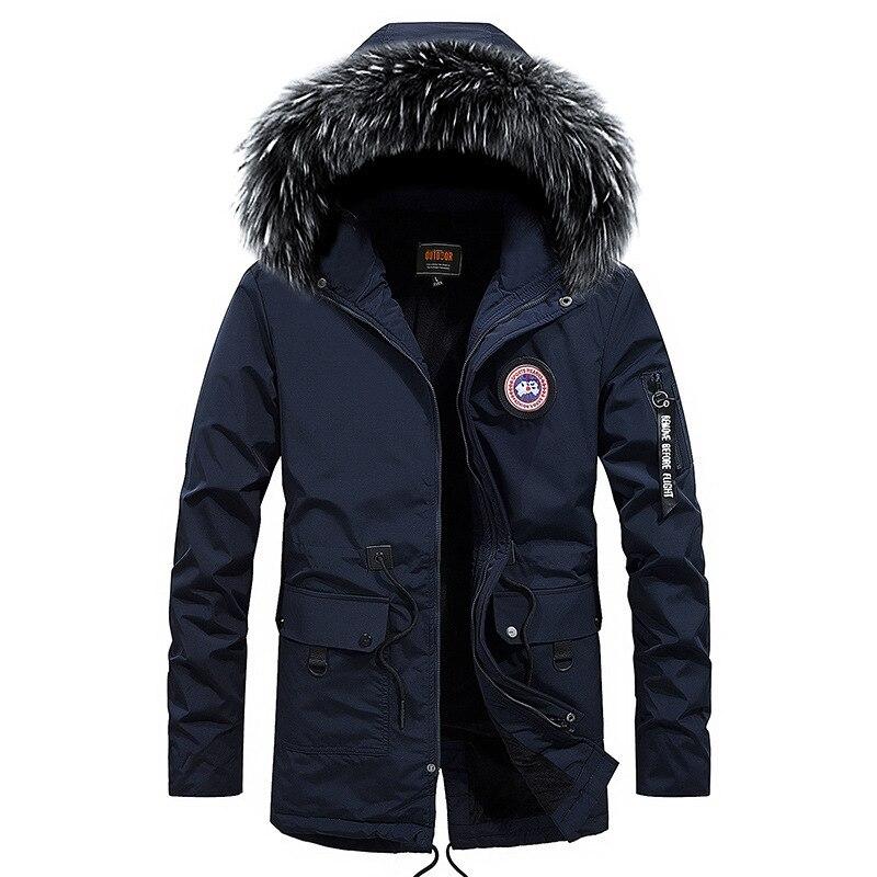 New Brand Winter Parkas Jacket Men Fashion Hooded Collar With Fur Windbreaker Winter Coat Fleece Keep Warm Hommes Veste M-6XL