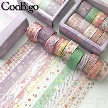 Washi Tape Set Masking Tapes Decorative Adhesive Scrapbooking Sticker Stationery Journal Diary Kawaii Cute Gold Pink 10pcs/pack