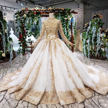 BGW 21230ht יוקרה חתונה שמלות מוסלמי אישה גבוהה צוואר ארוך שרוול תחרה עד לקיר אורך נסיכת כלה שמלת זהב Mariage