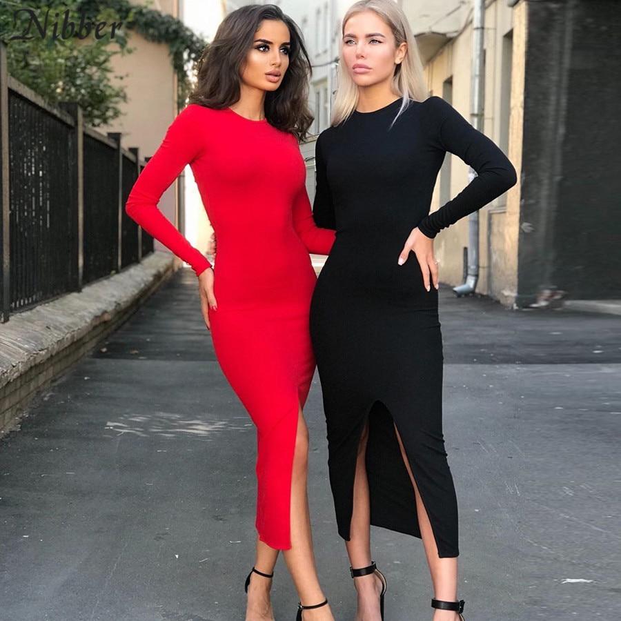 NIBBER Autumn Hot Club Party Night Simple Backless Midi Dress Women2019Elegant Stretch Slim Red Black Medium Bodycon Dress Mujer