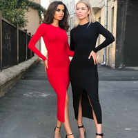 NIBBER herbst hot club party nacht einfache backless midi kleid Women2019Elegant stretch Schlank rot schwarz Medium bodycon kleid mujer