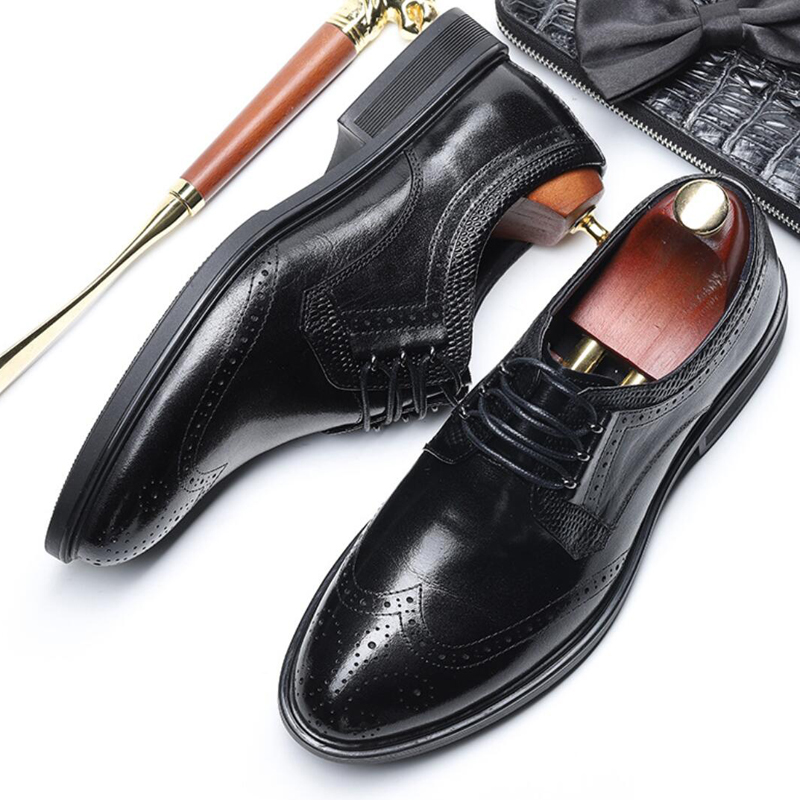 Fashion Man Formal Dress Brogue Shoes Genuine Leather Wingtip Oxfords Round Toe Derby Laces Men's Office Business Flats SS512