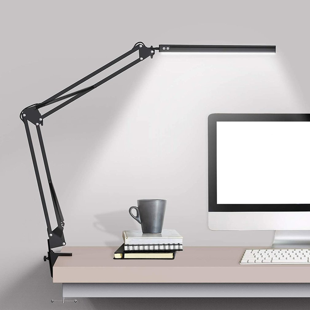 New LED Folding Metal Desk Lamp Clip on Light Clamp Long Arm Dimming Table Lamp 3 Colors For Living Room Reading Office Computer