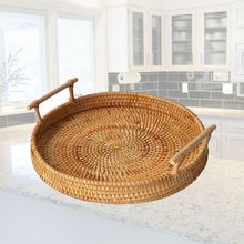 Storage-Basket Tray-Platter Wooden-Handle Rattan Bread-Serving Hand-Woven Handcrafted