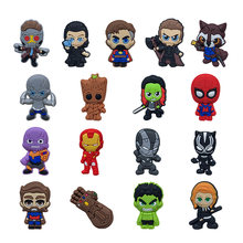 Hot Movie 1PCS New Avengers Superhero PVC Shoe Charms Accessories Fit for Shoes Bracelets Bands Croc JIBZ Shoe Buckles Ormaments(China)
