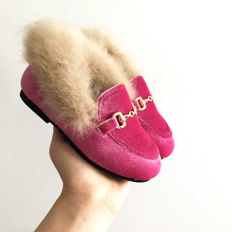 New Winter Kids Fur Shoes Baby Girls Warm Flats Children Pu Leather Princess Shoes Toddler Brand Black Loafer Fashion Moccasin
