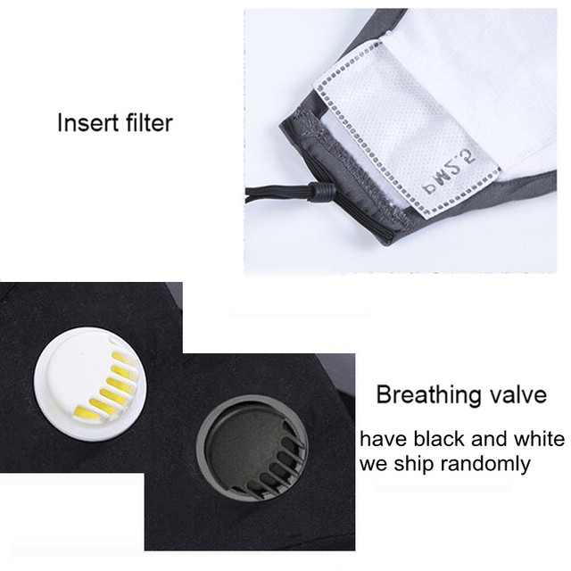 PM2.5 Cotton Black Color mouth Mask anti dust Activated carbon filter Windproof Mouth-muffle bacteria proof Flu masks 4