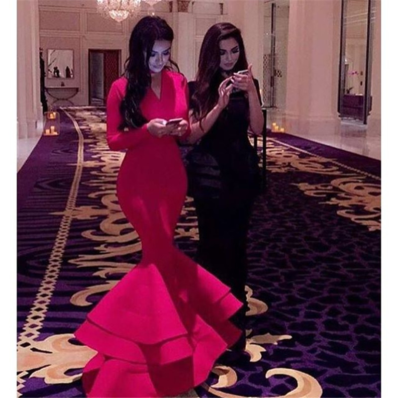 Robe De Soiree Mermaid Vestido De Noiva 2018 Tiered Prom Women Formal Red Mermaid Evening Gown Mother Of The Bride Dresses