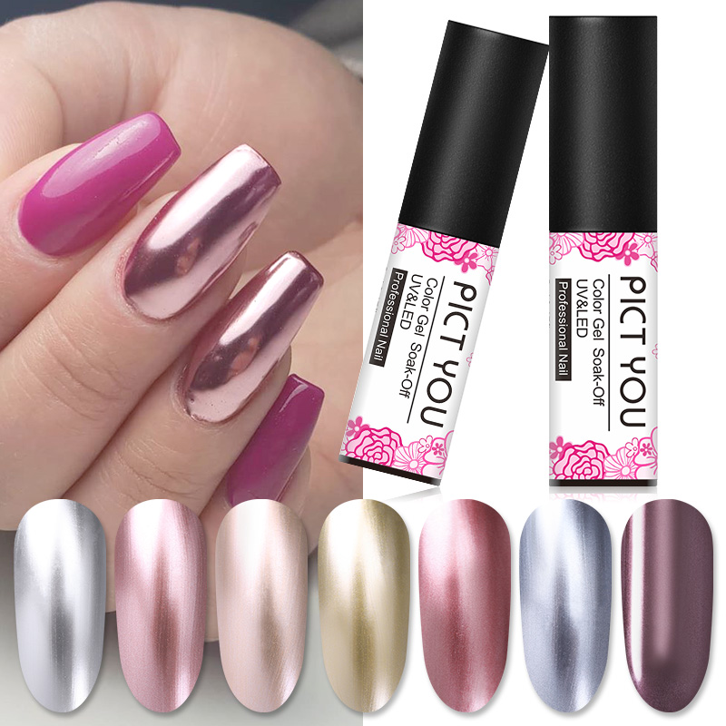 PICT YOU 1 Bottle 5ml Mirror Metallic Nail Gel Polish Silver Rose Gold Long Lasting Nail Art Gel Polish Soak Off UV Gel