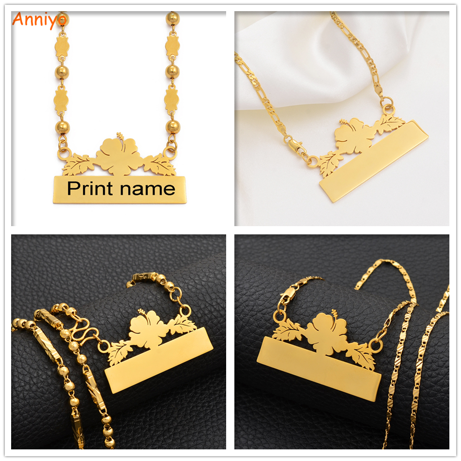 Anniyo Customize Name Letters Necklaces Hawaii Personalized Print Date of Birth/Your Idea Guam Hawaiian Flowers Jewelry #106721 image