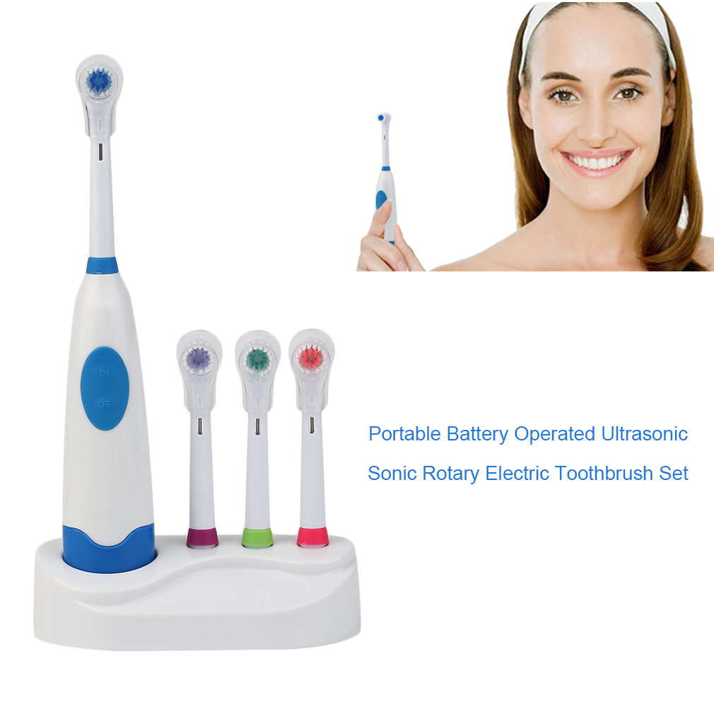 PE003 Portable Battery Operated Electric Toothbrush Ultrasonic Sonic Rotary Electric Toothbrush Set image