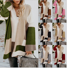 Women's cardigan 2020 new spring and autumn fashion large loose geometric color matching knitted cardigan