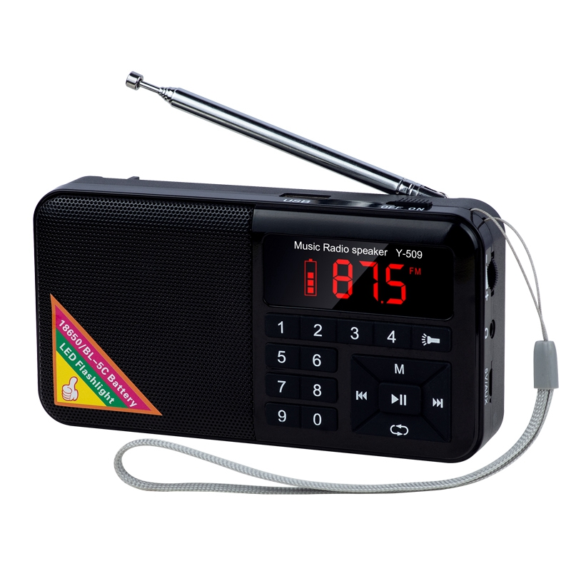 Portable FM Radio Media Speaker MP3 Music Player Support TF Card with LED Screen Display,Flashlight and Large Ailicone Key