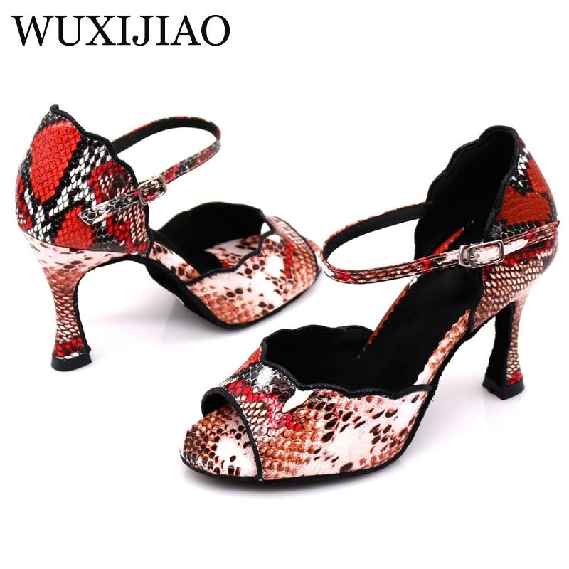 WUXIJIAO Women Party Dance Shoes Colorful Serpentine PU Soft Bottom Latin Dance Shoes Woman Salsa Dance Shoes Heel5CM-10CM