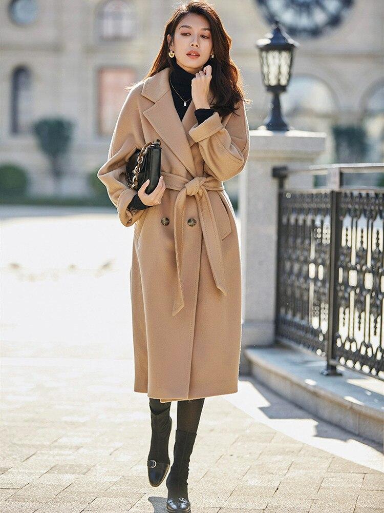 Оригинальный дизайн женское осеннее зимнее Элегантное повседневное теплое 100% шерстяное пальто двубортное с поясом розового/Красного размера плюс шерстяная куртка - 2