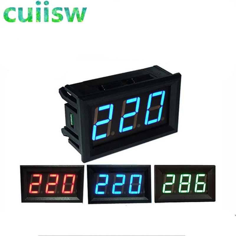 Цифровой вольтметр, светодиодный, 30-500 в перем. Тока, 0,56 дюйма, 2 провода, красный, зеленый, синий дисплей, 110 В, 220 В, сделай сам, 0,56 дюйма