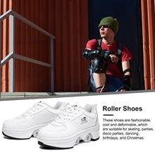 Unissex deformação sapatos de patinação sapatos parkour deformação quatro rodas rodadas de corrida sapatos patins