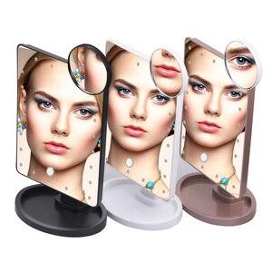 Image 5 - 22 LED 조명 터치 스크린 메이크업 거울 1X 10X 돋보기 화장 대 16 조명 밝은 조정 가능한 USB 또는 배터리 사용