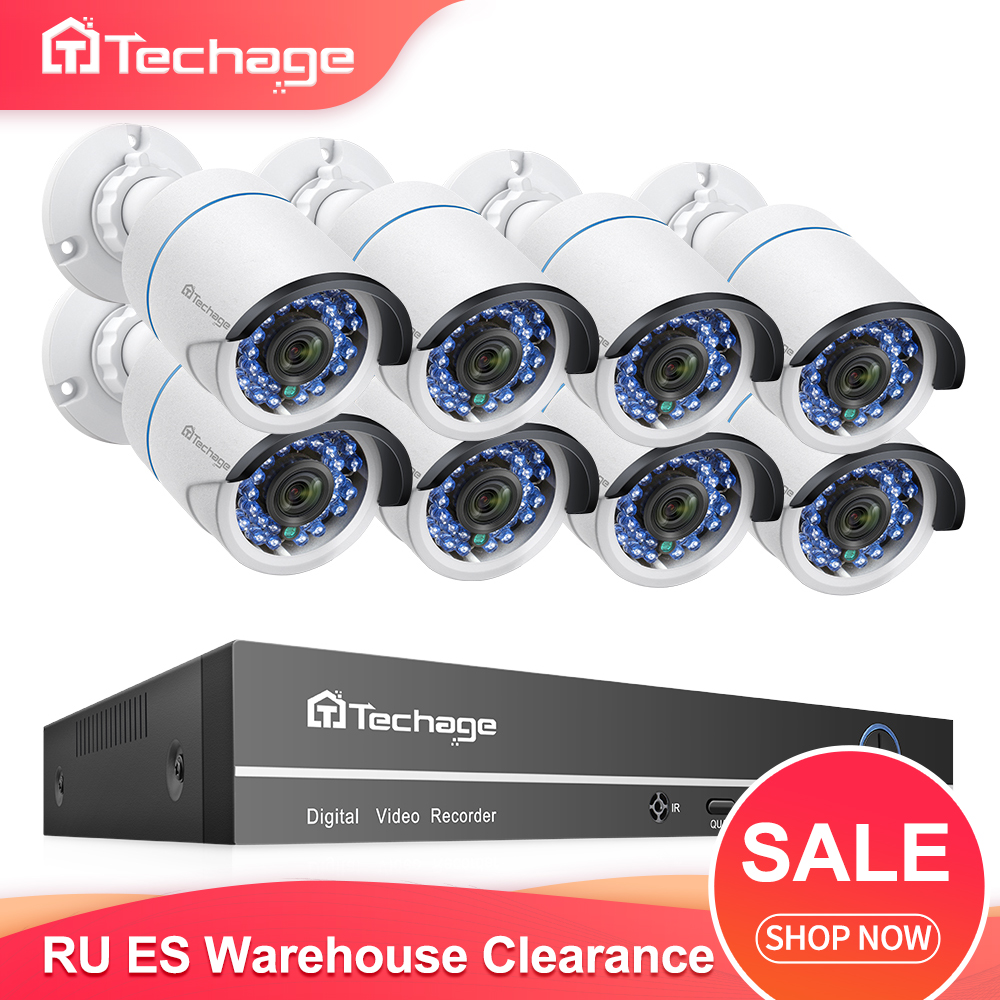 [ Clearance Sale ] H.265 8CH 1080P 2.0MP POE NVR Kit Security Camera System Audio Record IP Camera CCTV Video Surveillance Set