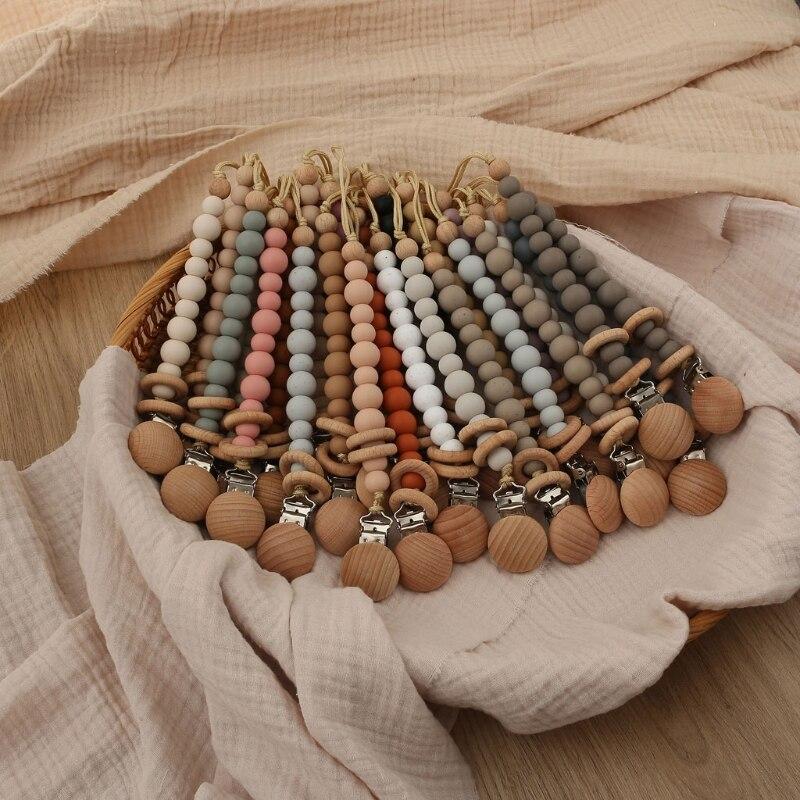 Bebé chupete Clips perlas de silicona anillo de cadena de chupete de bebé pezón apaciguar Cadena de chupete Clips soporte para muñeco pinza para pezones