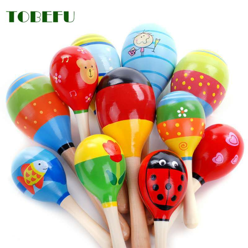 TOBEFU 1pc Baby Kid Wooden Ball Toy Sand Hammer Rattle Musical Instrument Percussion Infant