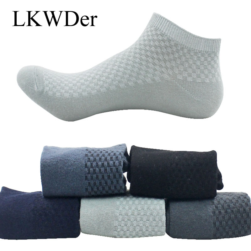5 Pairs/lot Men's   Socks   Business Bamboo Fiber Short Ankle   Socks   Spring Autumn Breathable Anti-bacterial Male   Sock   Meias Male Sox