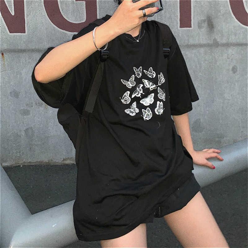 T-shirt noir pour femmes, Couple avec rue, Vintage, vêtement tendance, Long, style coréen imprimé, Harajuku