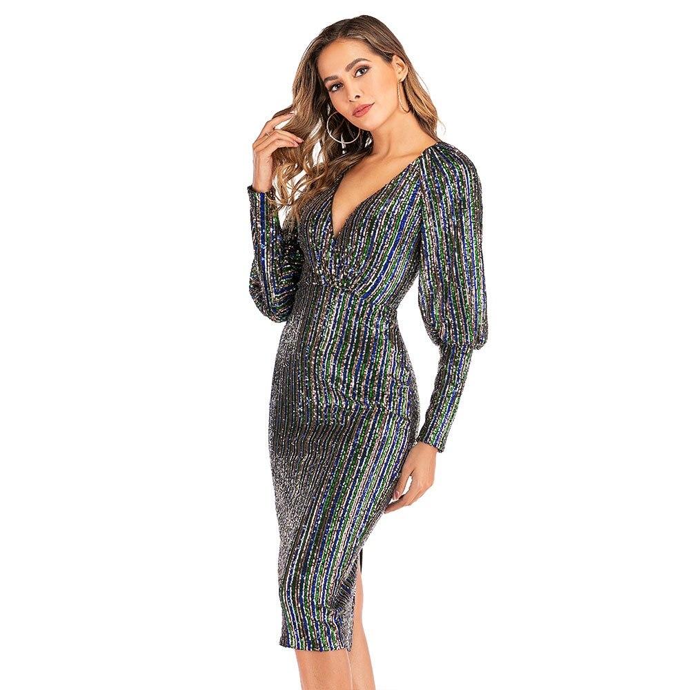 Nouveau Sexy Club de luxe Sequin moulante pansement robe de soirée femmes col en V profond lanterne manches arc-en-ciel rayé magnifique robe à paillettes