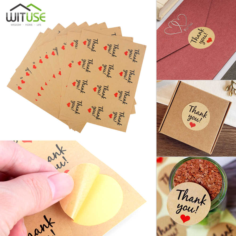 "48pcs/lot Vintage""Thank you"" Heart Round Kraft paper Seal sticker For handmade products baking products sealing sticker Label"
