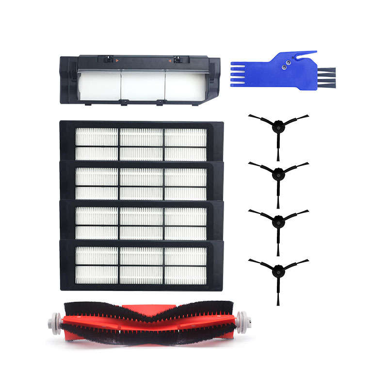 11Pcs/set Black Cover Box HEPA Filter Side Brush Rolling Brush with Little Comb for Roborock Vacuum Cleaner Parts