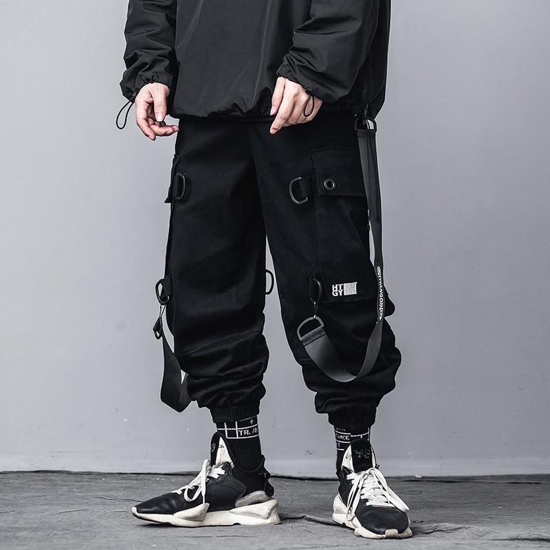 Hip Hop Black Tactics Cargo Pants Men 2020 Fashion Streetwear Mens Joggers Pants Ribbon Pocket Pencil Trousers US Size DG541
