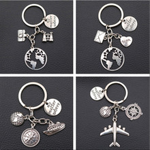 Creative No Matter Where Tag keychain DIY Aircraft & Ships Charm Compass Letter Home Camera Telescope 1pcs