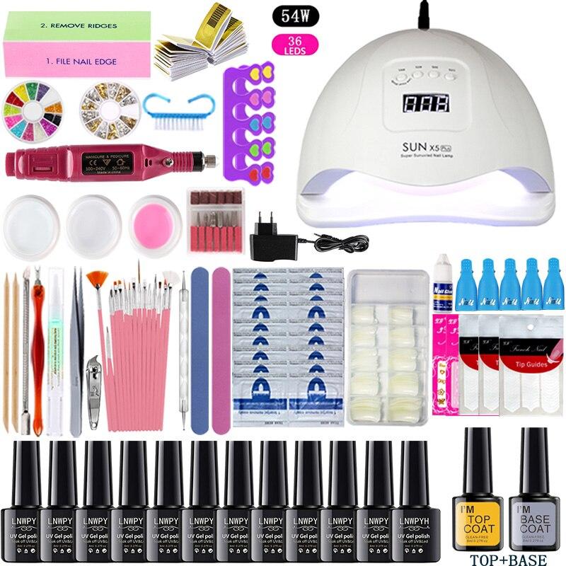 Full Manicure Set With Lamp Nail Kit 36/48/54W UV LED Lamp For Nail Art Sets 12pcs 8ml UV Gel Nail Polish Set Tools For Manicure
