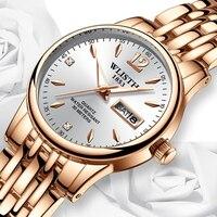 Wlisth למעלה מותג נשים שעון טונגסטן פלדה שעונים אוהבי מתנה עלה זהב סיני-אנגלית לוח שנה קוורץ שעון עמיד למים