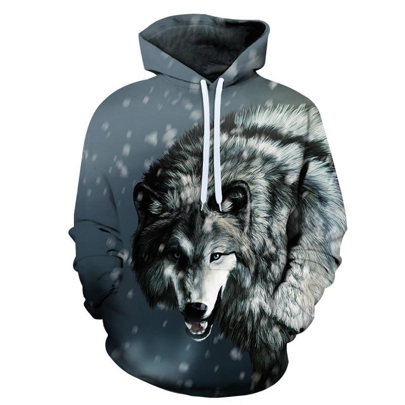 2019 New Wolf Hoodies Men's Hoodie Autumn Winter Hip Hop Hoody Tops Casual Brand 3D Wolf Head Hoodie Sweatshirt Dropship