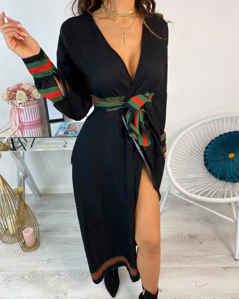 Women Elegant Sexy Long Sleeve Print Dress Female Partywear V Neck Maxi Dress|Dresses| - AliExpress