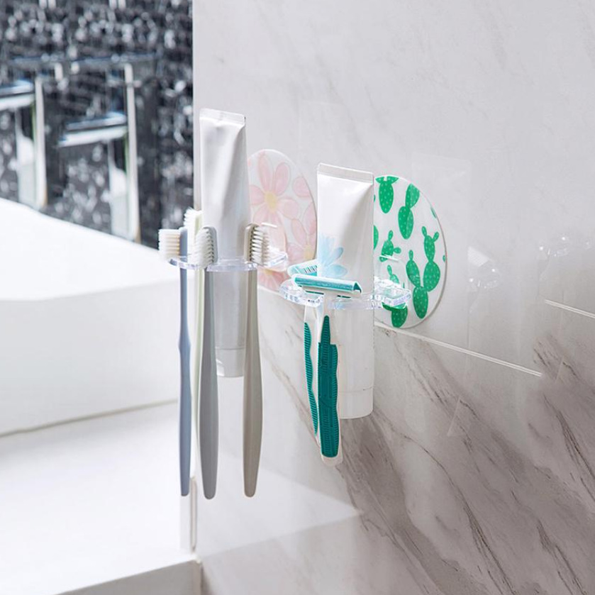 Free Punching Bathroom Storage Rack Card Slot Toothbrush Holder Plastic Frame Bathroom Wall Hanging Tooth Holder