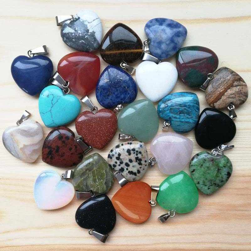 Natural Tigers Eye Amethysts Agates Lapis Lazuli Gem Stone Love Heart Bead Reiki Chakra Healing Pendant For Jewelry Making Gift