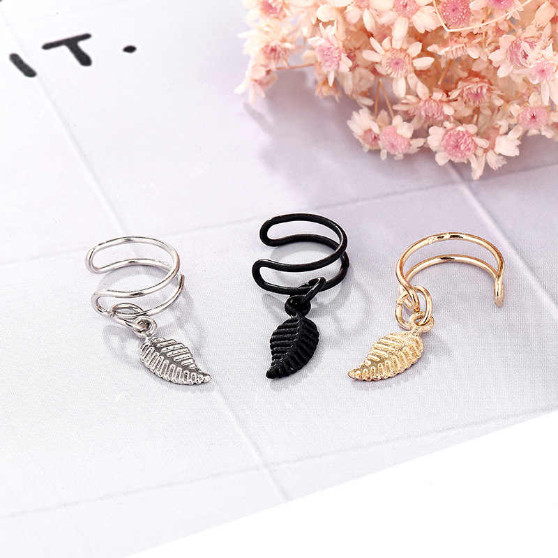 2019 Time-limited Tin Alloy Earings Simple Metal Leaves U Ear Clip Without Pierced Earrings Social New Fake The United States