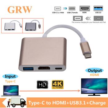 Grwibeou Usb C zgodny z HDMI typ c zgodny z Hdmi Adapter konwertera mac 3 1 USB 3 0 koncentrator typu C do adaptera Apple Macbook tanie i dobre opinie TYPE-C Męski-żeński USB C to HDMI+USB3 0+Charge CN (pochodzenie) Przewody typu C PLASTIKOWA TOREBKA do komputera DO TELEWIZORA